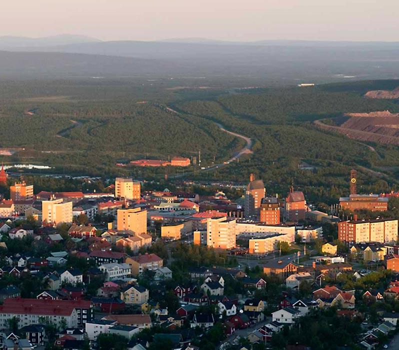 Bild på gamla Kiruna centrum