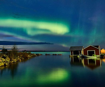 Northern lights over the Islands of Swedish Lapland