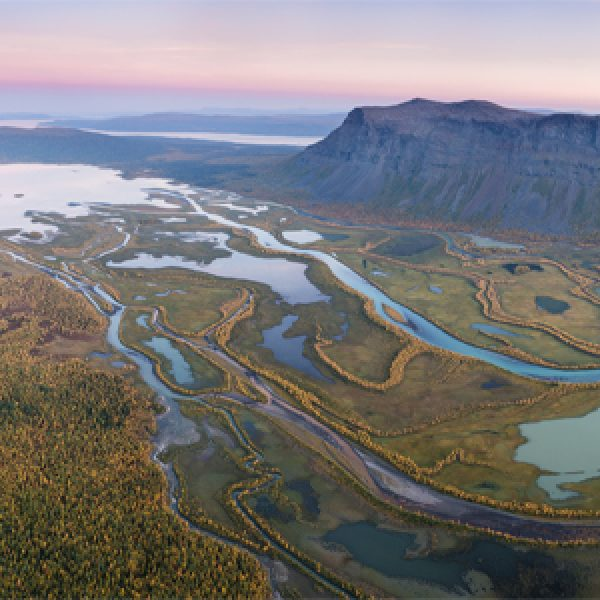 Panoramic view over Rapadalen from summit of Skierfe, Sarek National Park, Lapland, Sweden.